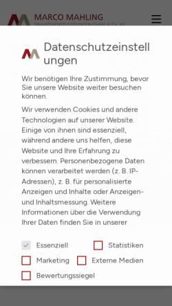 Vorschau der mobilen Webseite www.marco-mahling.de, Marco Mahling Finanzdienstleistungen GmbH & Co. KG