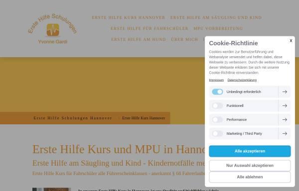 Vorschau von www.erste-hilfe-gardi.de, Erste Hilfe Schulungen und MPU Vorbereitung