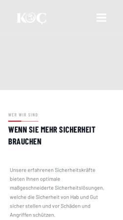 Vorschau der mobilen Webseite www.koc.gmbh, KOC Kurier- und Sicherheitsdienste GmbH