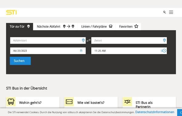 Vorschau von www.stibus.ch, Verkerhrsbetriebe STI, Steffisburg-Thun-Interlaken