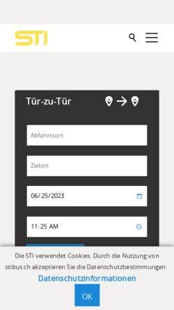 Vorschau der mobilen Webseite www.stibus.ch, Verkerhrsbetriebe STI, Steffisburg-Thun-Interlaken