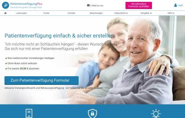Vorschau von www.patientenverfuegungplus.de, Patientenverfügungplus