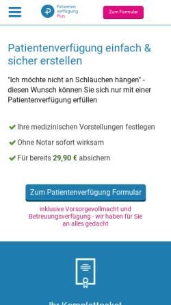 Vorschau der mobilen Webseite www.patientenverfuegungplus.de, Patientenverfügungplus