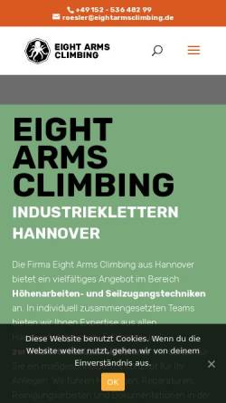 Vorschau der mobilen Webseite www.eightarmsclimbing.de, Eight Arms Climbing