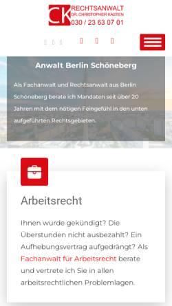 Vorschau der mobilen Webseite www.rakasten.de, Rechtsanwalt Dr. Christopher Kasten