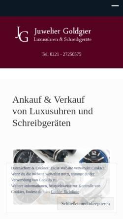 Vorschau der mobilen Webseite www.goldgier.de, Juwelier Goldgier