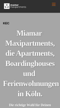 Vorschau der mobilen Webseite www.maxipartments.de, Miamar Maxipartments Köln