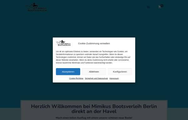 Vorschau von mimikus-bootsverleih.de, Mimikus Bootsverleih