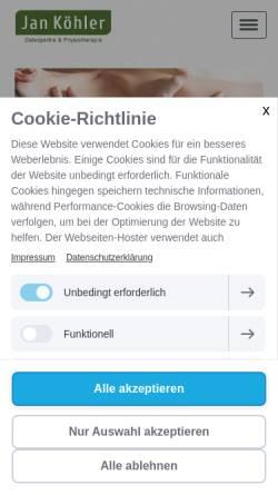 Vorschau der mobilen Webseite www.osteopathie-eimsbuettel.de, Jan Köhler Osteopathie