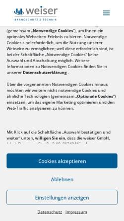 Vorschau der mobilen Webseite www.weiser.de, Weiser GmbH Brandschutz & Technik