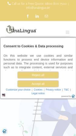 Vorschau der mobilen Webseite www.unalingua.de, Unalingua Sprachen & Technologie GmbH