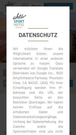 Vorschau der mobilen Webseite www.aktiv-sporthotel.de, aktiv SPORTHOTEL ***