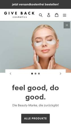 Vorschau der mobilen Webseite www.giveback-cosmetics.de, GIVE BACK UG