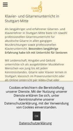 Vorschau der mobilen Webseite www.gitarre-klavier.de, Thomas Albrecht Gitarren- und Klavierunterricht