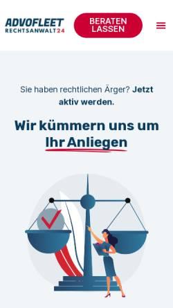 Vorschau der mobilen Webseite www.rechtsanwalt24.de, Advofleet Business Services GmbH