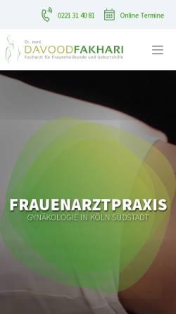 Vorschau der mobilen Webseite www.drfakhari.de, Frauenarzt Dr. Davood Fakhari