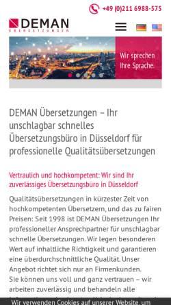 Vorschau der mobilen Webseite www.deman-uebersetzungen.com, DEMAN Übersetzungen GmbH