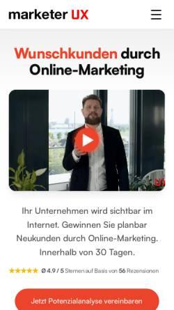 Vorschau der mobilen Webseite www.marketer-ux.com, marketer UX GmbH