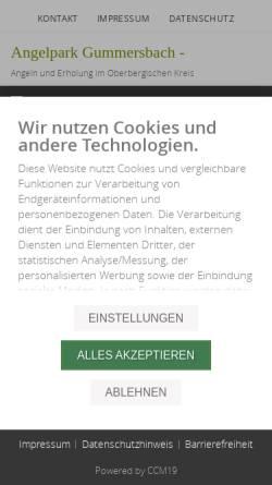 Vorschau der mobilen Webseite www.angelpark-gummersbach.de, Angelpark-Gummersbach