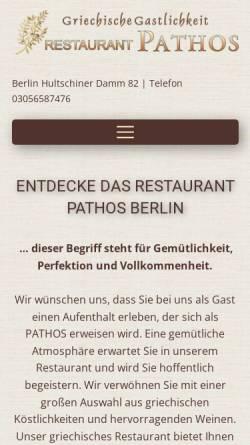Vorschau der mobilen Webseite www.pathos-berlin.de, Restaurant Pathos