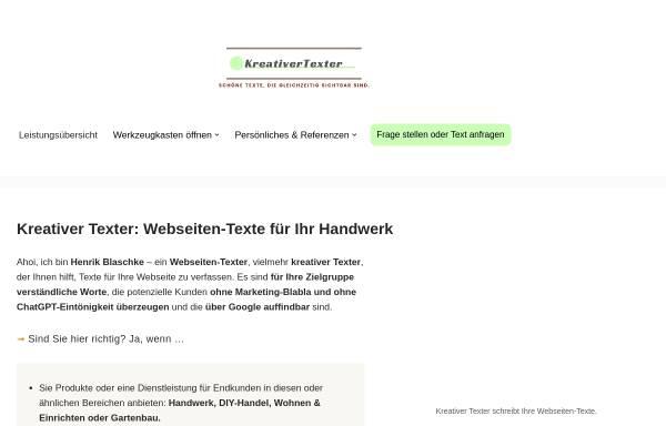 Vorschau von kreativertexter.de, KreativerTexter - Henrik Blaschke