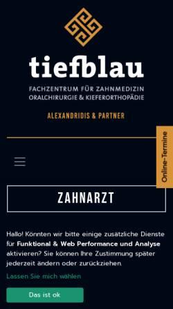 Vorschau der mobilen Webseite www.tiefblau.koeln, tiefblau Zahnarztpraxis Köln