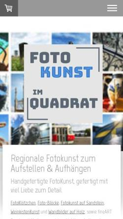 Vorschau der mobilen Webseite www.fotokunstimquadrat.de, Foto Kunst im Quadrat