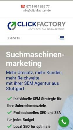 Vorschau der mobilen Webseite www.clickfactory.de, Clickfactory