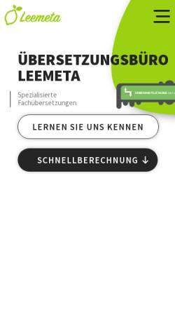 Vorschau der mobilen Webseite www.leemeta-uebersetzungen.de, Leemeta Übersetzungen