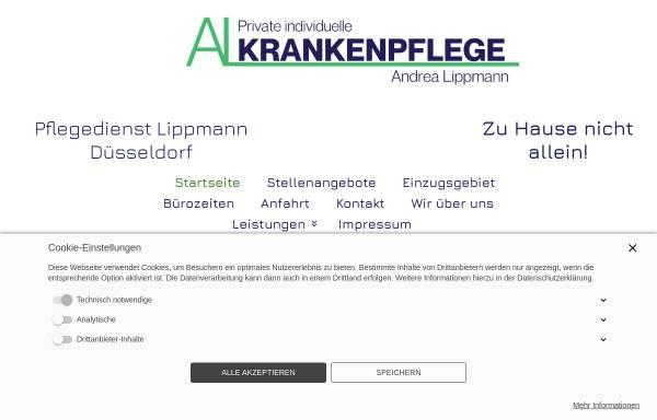 Vorschau von www.pflegedienstduesseldorf.de, Private Individuelle Krankenpflege Andrea Lippmann