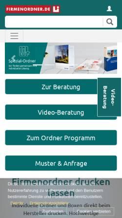 Vorschau der mobilen Webseite www.firmenordner.de, Druckbetrieb Lindner GmbH & Co. KG