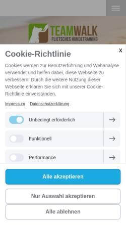 Vorschau der mobilen Webseite www.team-walk.de, Teamwalk Mobiles Hundetraining