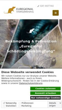 Vorschau der mobilen Webseite www.euregional-schaedlingsbekaempfung.de, Euregional-Schädlingsbekämpfung