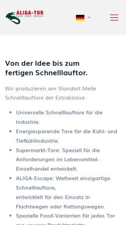 Vorschau der mobilen Webseite aliga-tor.de, Aliga-Tor GmbH