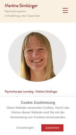 Vorschau der mobilen Webseite www.psychotherapie-simbuerger.at, Psychotherapie Martina Simbürger