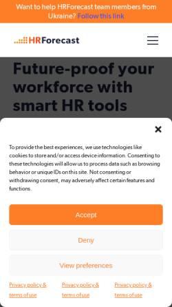 Vorschau der mobilen Webseite www.hrforecast.com, HRForecast (peopleForecast GmbH)