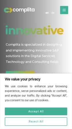 Vorschau der mobilen Webseite complita.de, Complita GbR