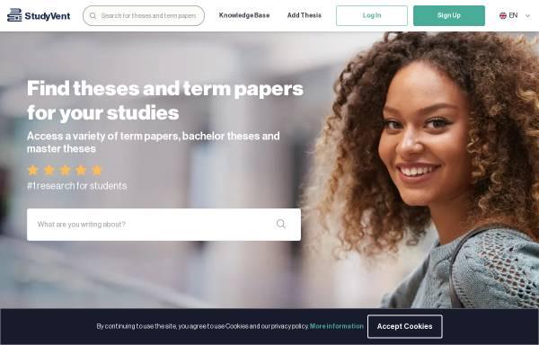Vorschau von studyvent.com, Forschungsplattform für Studenten