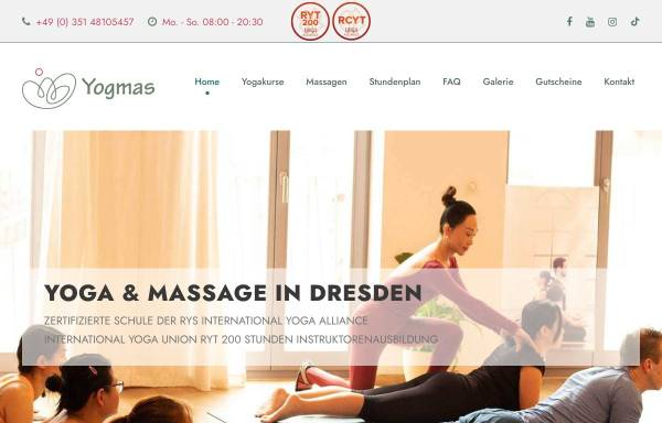 Vorschau von yogmas.de, Yogaschule Dresden