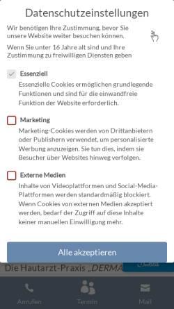 Vorschau der mobilen Webseite hautarzt-muenchen.com, Dermazent