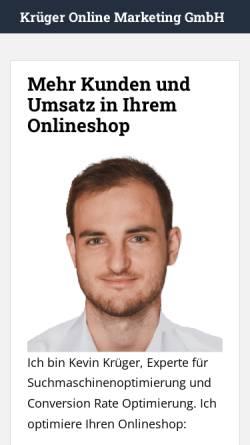 Vorschau der mobilen Webseite www.krueger-online-marketing.de, Krüger Online Marketing GmbH