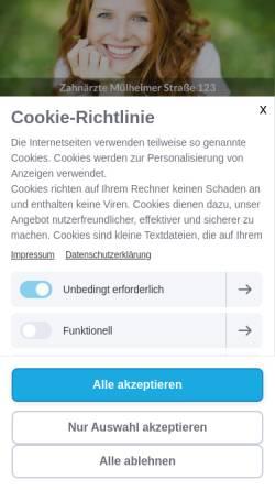 Vorschau der mobilen Webseite www.zahnarzt-duisburg.dental, Zahnärzte Mülheimer Str. 123