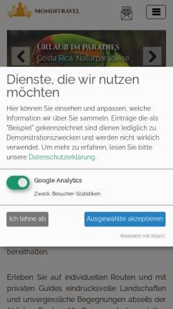 Vorschau der mobilen Webseite monditravel.com, Monditravel