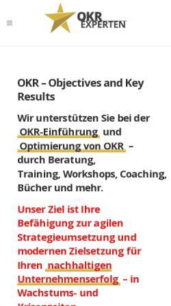 Vorschau der mobilen Webseite okrexperten.de, OKR Experten powered by DigitalWinners GmbH