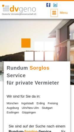 Vorschau der mobilen Webseite www.dvgeno.de, dvgeno Deutsche Vermietergenossenschaft eG