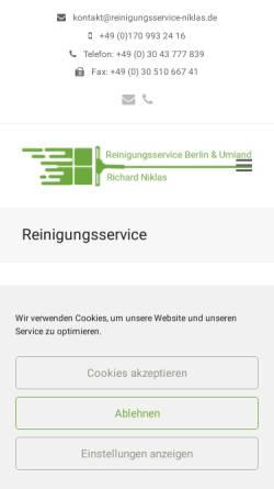 Vorschau der mobilen Webseite www.reinigungsservice-niklas.de, Reinigungsservice Niklas