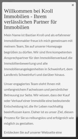 Vorschau der mobilen Webseite kroll-immobilien-schweinfurt.de, Kroll Immobilien