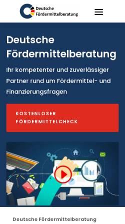 Vorschau der mobilen Webseite www.deutsche-foerdermittelberatung.de, Deutsche Fördermittelberatung Steidele GmbH