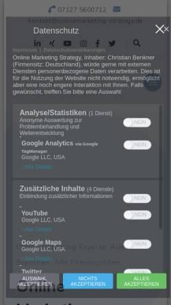 Vorschau der mobilen Webseite onlinemarketing-strategy.de, Online Marketing Strategy