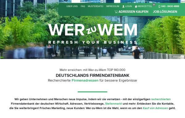 Vorschau von www.wer-zu-wem.de, wer-zu-wem GmbH